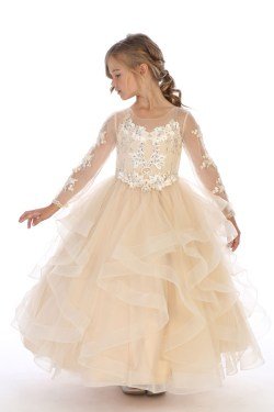 bijan kids wholesale 8062 champagne long sleeve dress