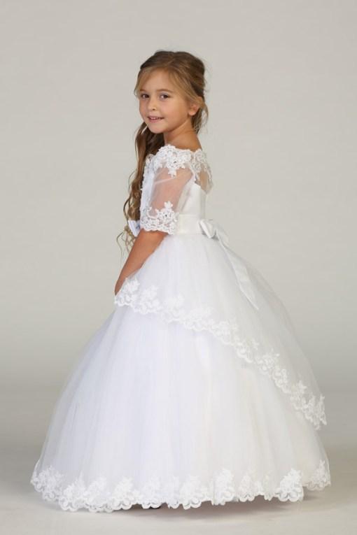 Wholesale girls white dress Wholesale long sleeve white dress for girls