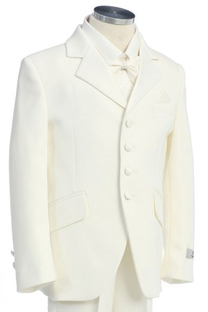 Wholesale Ivory tuxedo suit for boys in Ivory color. Tuxedo comes with white shirt and white tie. Five piece set limited sizes available.