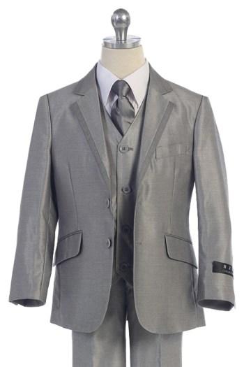 Bijan kids BJ4005-12 silver suit