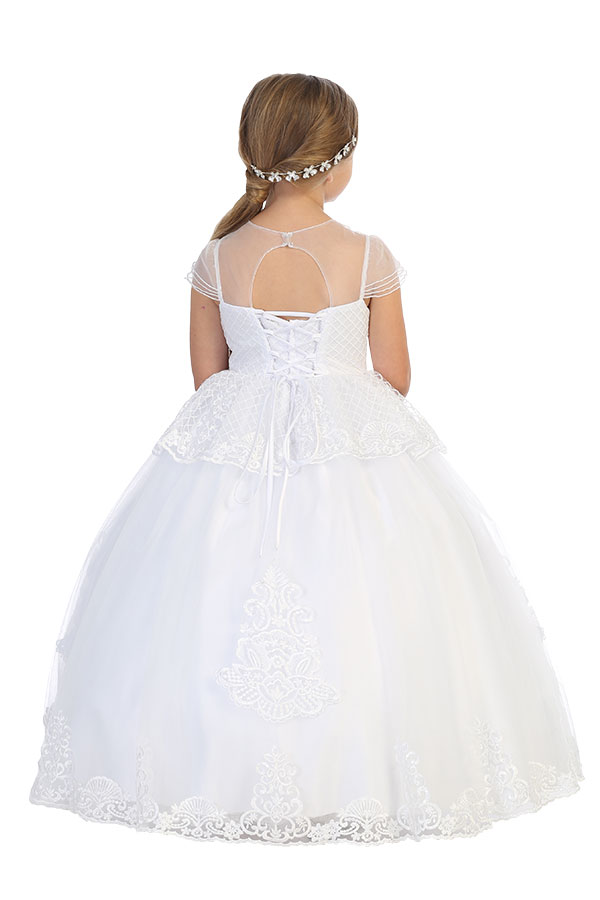 Wholesale communion dress with sheer cap sleeves