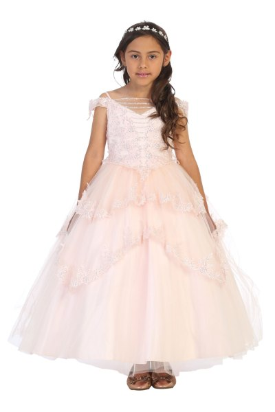 Multi layered ballgown with silver sequins in Blush, light pink