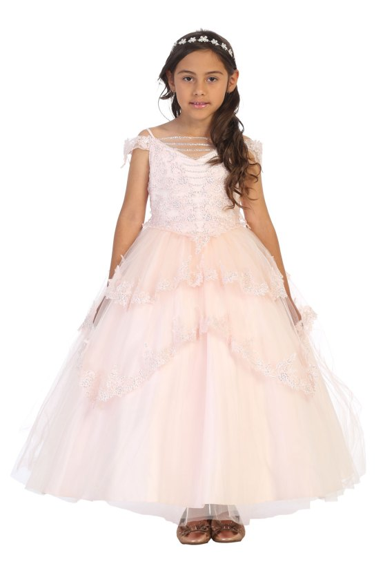 Wholesale flower girls dresses Blush, light pink