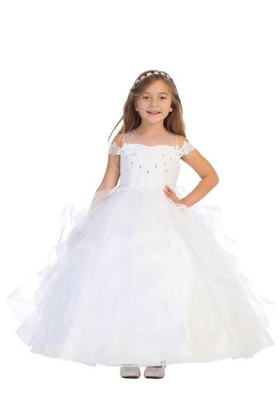 Bijan Kids white ruffled communion dress