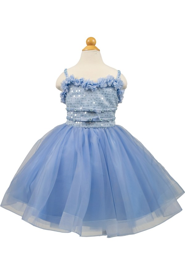 short flower girl dress with sequins top and corset back in dusty blue