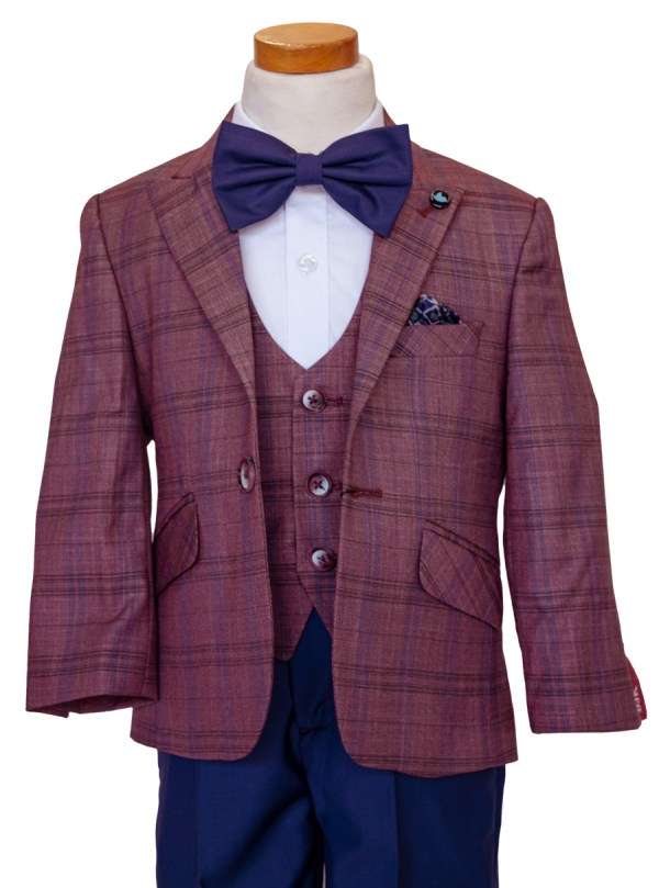 Boy's burgundy and navy suit