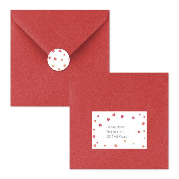 geboortekaartje blaadjes envelop