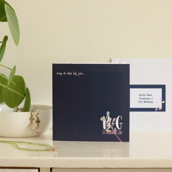 persoonlijk geboortekaartje of bijzondere trouwkaart monogram watercolor