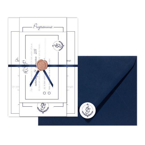 trouwkaart monogram klassiek set
