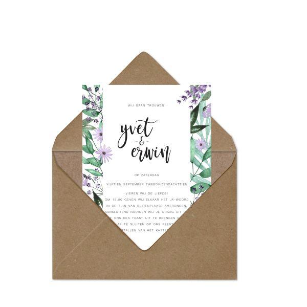 trouwkaart bloementuin kaart uit envelop