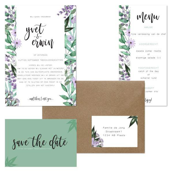 trouwkaart bloementuin set totaal