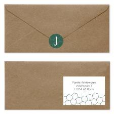 geboortekaartje groen   goud envelop