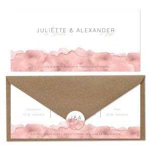 bijzondere trouwkaart nude watercolor set