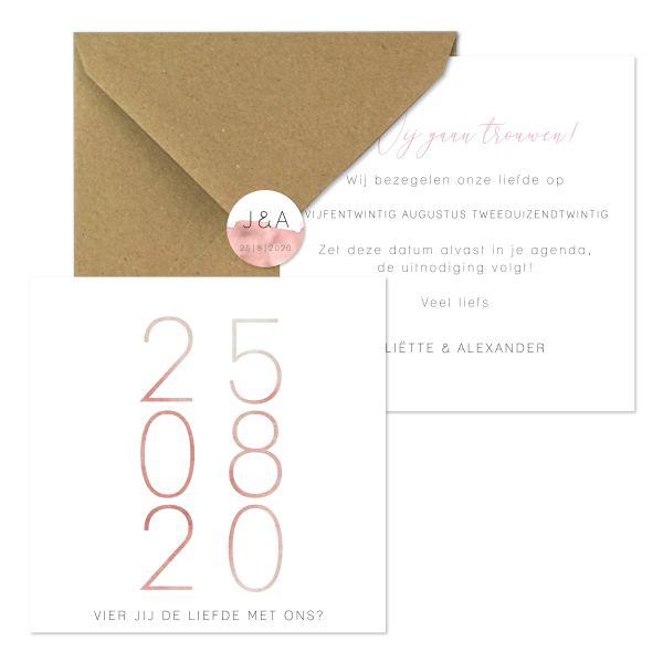bijzondere trouwkaart nude watercolor save the date