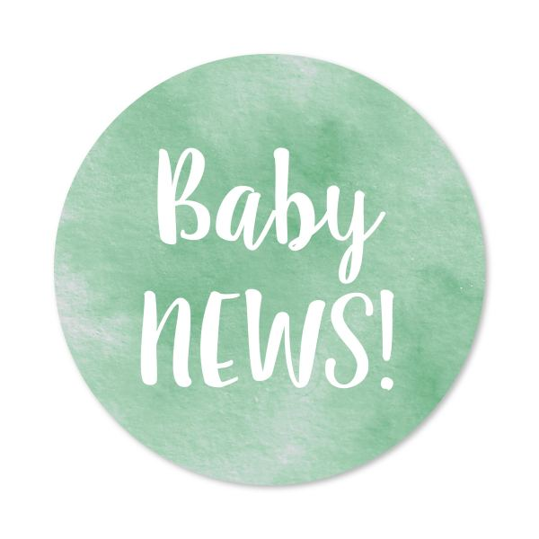 Sluitzegel Baby news! watercolor groen