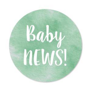 Sluitzegel Baby news! watercolor groen