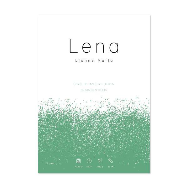 geboorteposter Lena groen