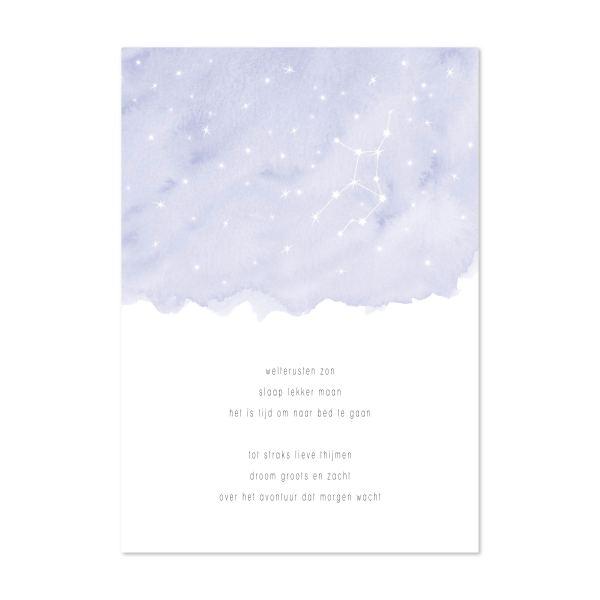 kraamcadeau tip: poster welterusten zon sterrenbeeld blauw