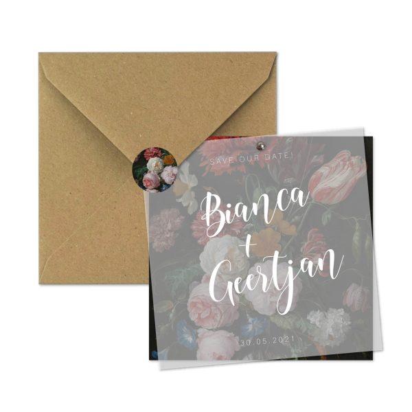 save-the-date kaart mrs. bouquet set