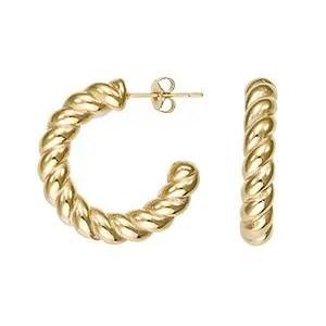 Boucles d'oreilles acier, acier doré