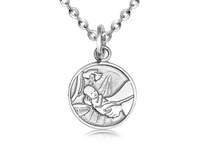medaille de bapteme fond baptismaux pour enfant en or blanc 10k