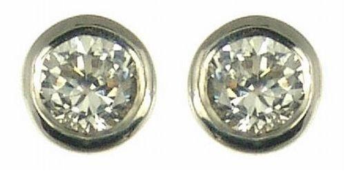 Boucles-doreille-Femme-Or-blanc-18-carats-081-Gr-Diamant-015-Cts-0