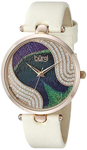 Burgi-Femme-Quartz-Affichage-Analogique-Cadran-Violet-Beige-Bracelet-Cuir-0
