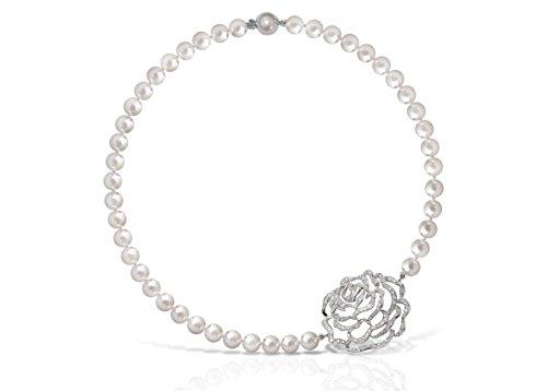 collier perles d'eau douce 9mm avec fermoir rose