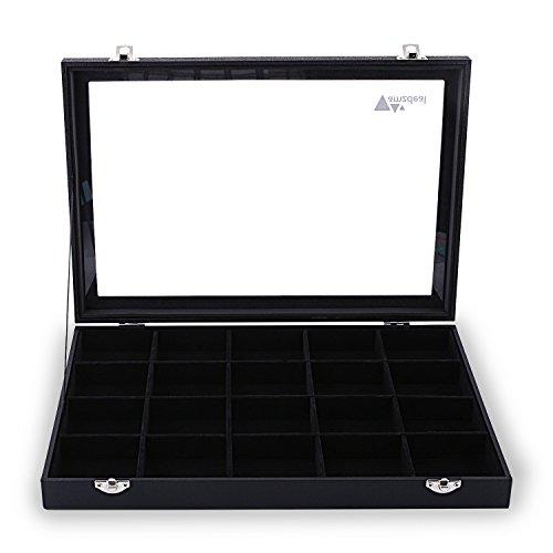 Amzdeal-Prsentoir-Coffret--Bijoux-avec-Vitre-Bote--bijoux-et-Coffret-de-Rangement-pour-Bague-Boucle-doreille-Collier-avec-20-Compartiments-Noir-0
