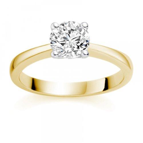 Diamond-Manufacturers-Bague-de-fiancailles-avec-diamant-Rond-Femme-Or-jaune-7501000-18-cts-Diamant-143-ct-0