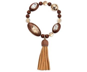 Swarovski Bracelet Tassell Wood Crystallized