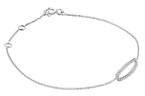 Miore - Bracelet extensible - Or blanc 9 cts - Diamant 0.11 cts - 18 cm - MY023B