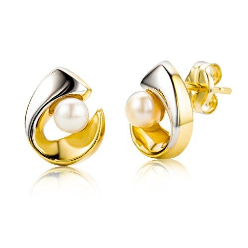 Miore-MA952E-Boucles-dOreilles-Femme-Or-Bicolore-3751000-9-carats-078-gr-Perle-deau-douce-0