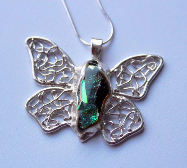 Pendentif papillon fusing argent