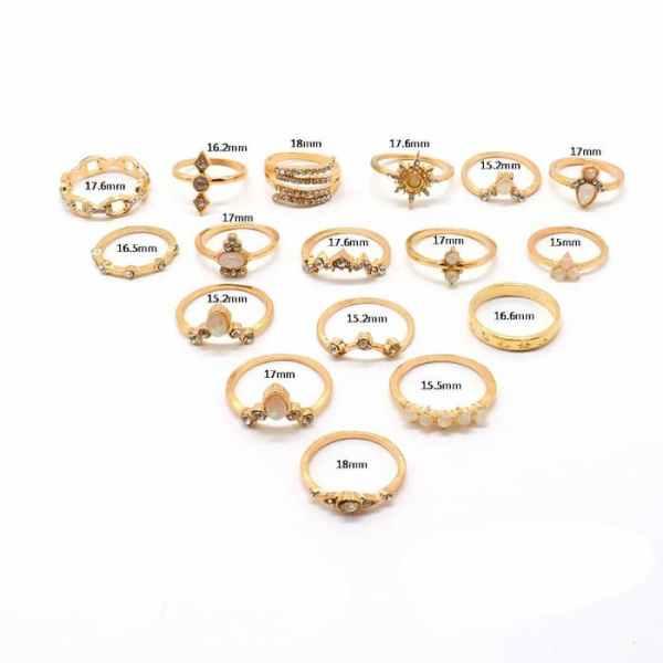 Ensemble de 17 bagues fantaisie en or - tailles
