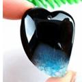 agate druzy geode noir et bleu - collier N 270