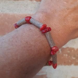 Bracelet Eclats Bambou de mer Corail