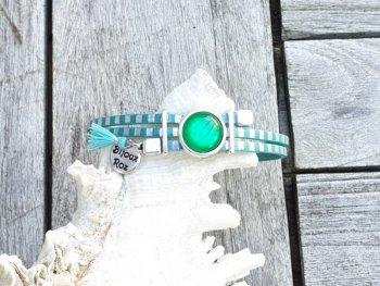 Bracelet cabochon ver rayé-Turquoise