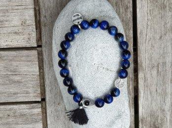 Bracelet élastique oeil de tigre bleu