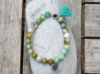 Bracelet élastique turquoise de Mongolie