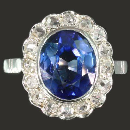 Bague Saphir Diamant Or Blanc Style Lady Di Vendu