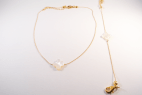 collier et bracelet dores trefle nacre blanc (Copier)