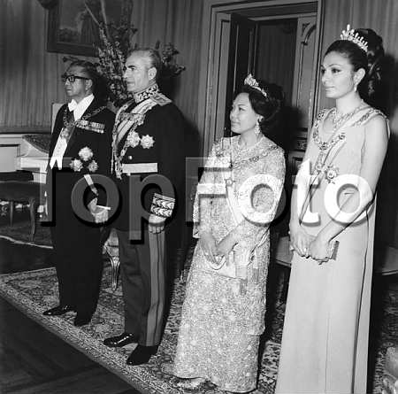 Mohammad Reza Pahlavi, the Shah of Iran with HIM Shahbanou (Empress) Farah of Iran on an official visit to Malaysia Miss Farah Diba 1938-1959 . HIM Shahbanou (Empress) Farah of Iran 1967-1979 Empress Farah Pahlavi 1979- © Imperial Iranian Archives / TopFoto