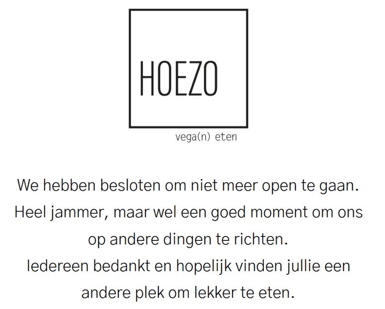 Restaurant HOEZO Leiden Permanent Gesloten