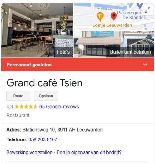 Grand Café Tsien Leeuwarden Failliet