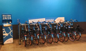 Blue-bike bicycle sharing in Belgium