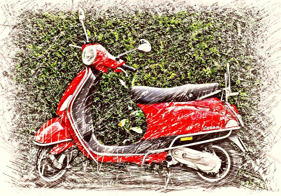 ベスパ ローラー スクーター カルト 図面 カラフル モペット Flitzer ドライブ