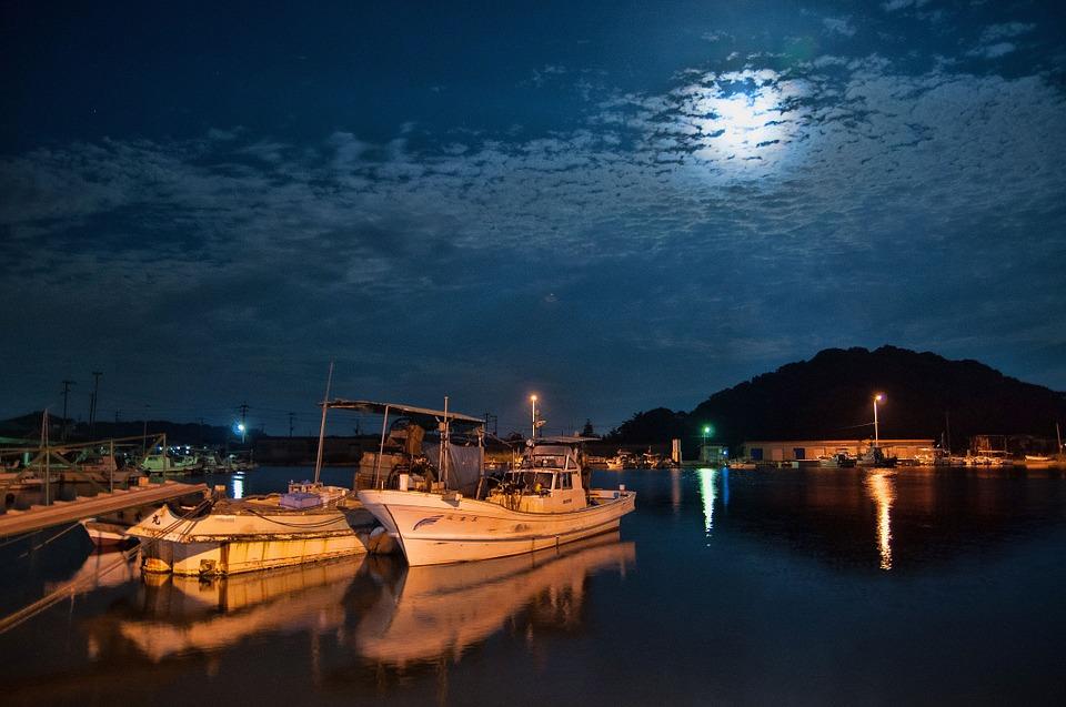 夜 港 熊本 天草 雲 夜景 海岸