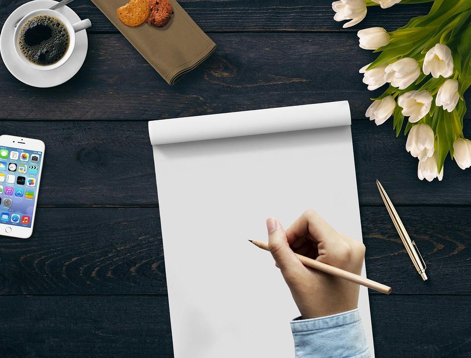 書き込み 手 コーヒー メモ帳 花 携帯電話 クッキー クーリー テーブル チューリップ