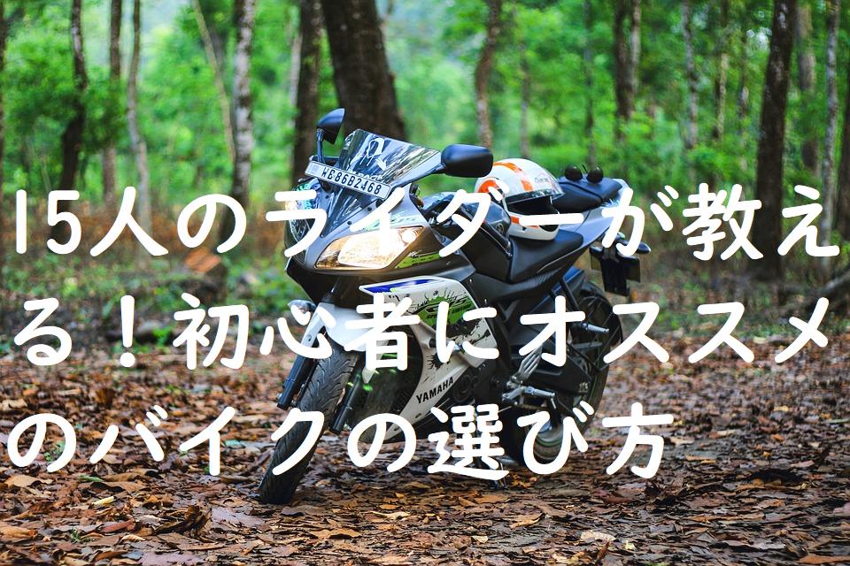 15人のライダーが教える!初心者にオススメのバイクの選び方